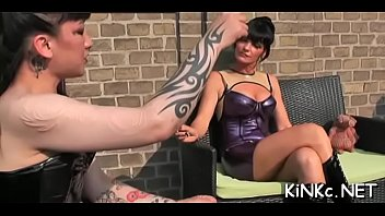 mistress slave dog walks black Japanse humping objects chair