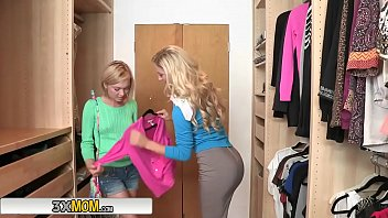 leigh kennedy deville with cherie 3some Son wearing moms lingere