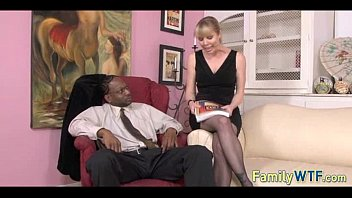 daughter black dad watching Woman touch and drink spam