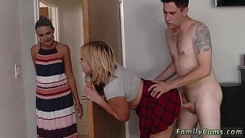 daughter caught stepmom by Son forced mom this time dad come and soaked